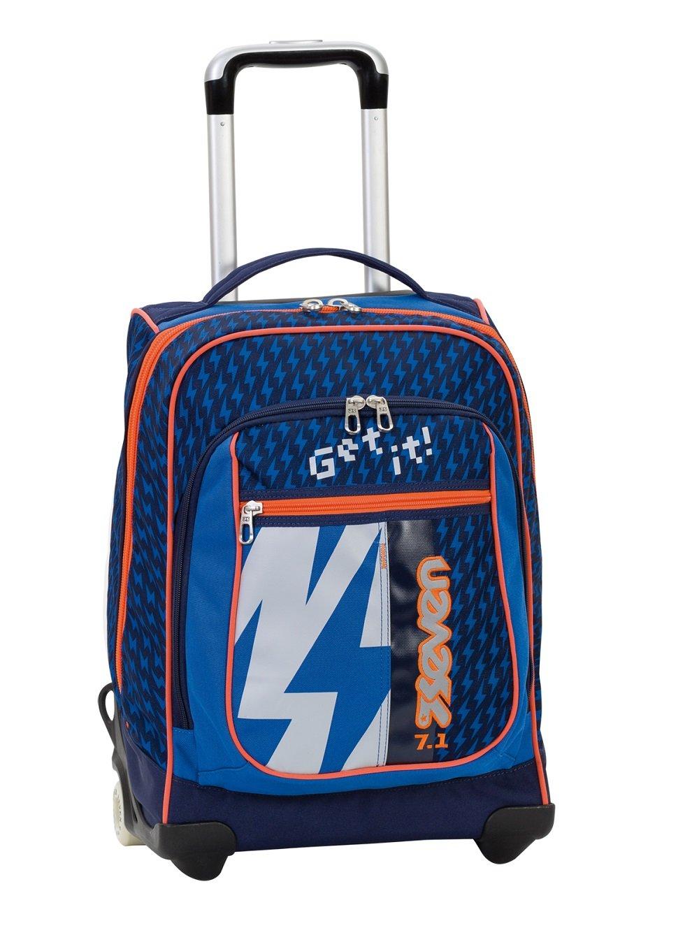 2in1 TROLLEY SEVEN ROUND - FLASH UP - blau Orange- 37 LT - Bei Verwendung als Trolley komplett versenkbare Tragegurte im Rücken  Schule und Reise neu