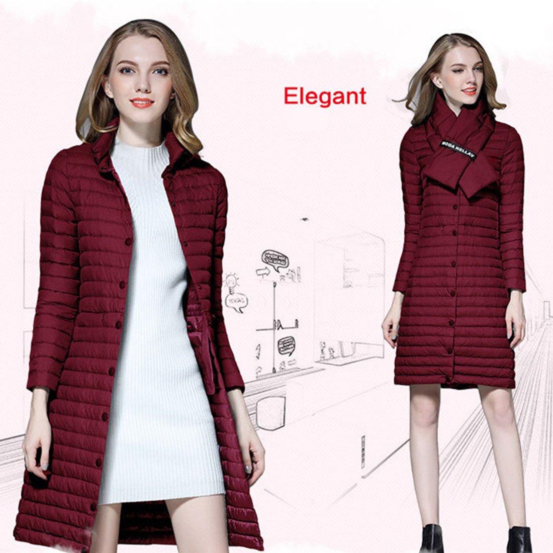 9fa109a39e39 Gwell Femme Manteau d hiver Long Doudoune Légère Blouson Veste + écharpe   Amazon.fr  Sports et Loisirs