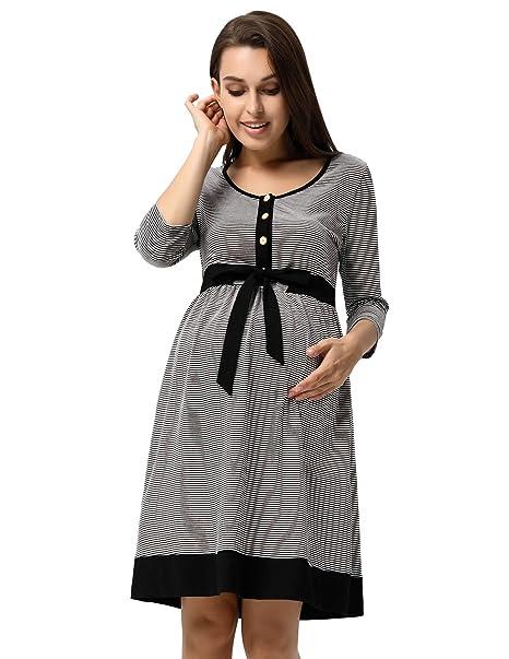 Maacie Vestido Premamá de Lunares para Las Mujeres Embarazadas Maternidad Lactancia Amamantar Manga 3/4