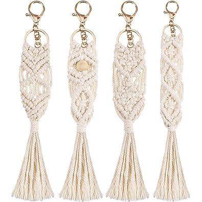 Amazon.com: 4 piezas Mini Macrame llaveros Boho Macrame ...