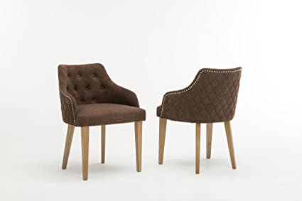 Set of 2 Oliver Smith Contemporary Tufted Nailed Microfiber Modern Sofa  Chair Sofa Arm Chairs 10010 Brown