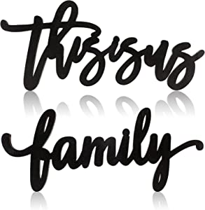Jetec 2 Pieces This is Us Family Sign, Farmhouse Wooden This is Us Wall Decor with Double-Sided Tape, Rustic Wood Cutout Family Sign for Bedroom, Living Room, Wall, Indoor and Outdoor