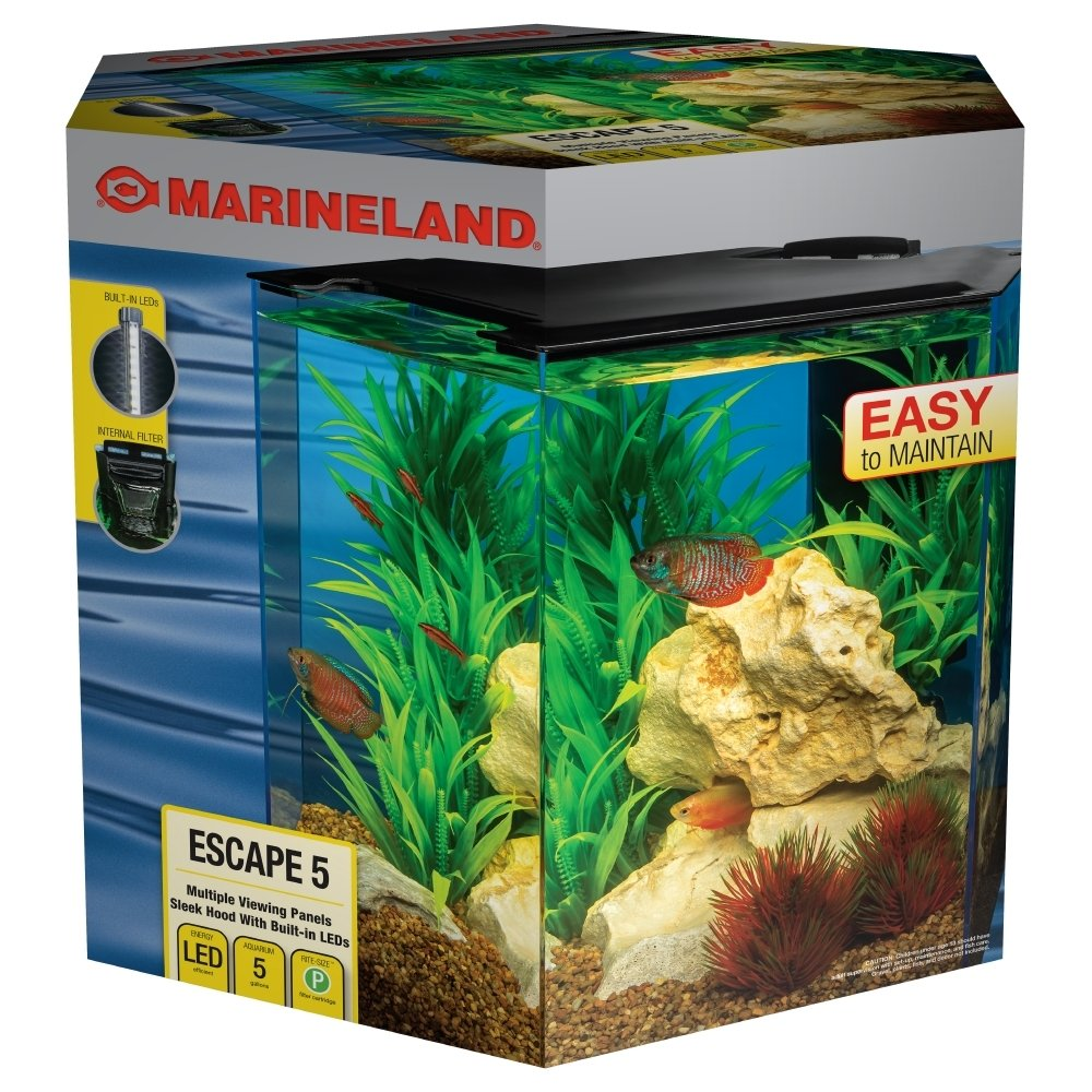 MarineLand Escape 5 Aquarium Kit, Built-in LEDs & Filter, 5-Gallon by MarineLand