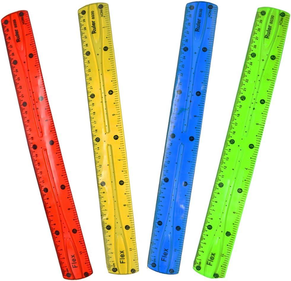 12 pollici righelli Yojoloin 4 confezione trasparente 12 pollici infrangibile Flexibel plastica righelli Soft 12 nastro righello set di 4 colori doppio laterale 30 cm