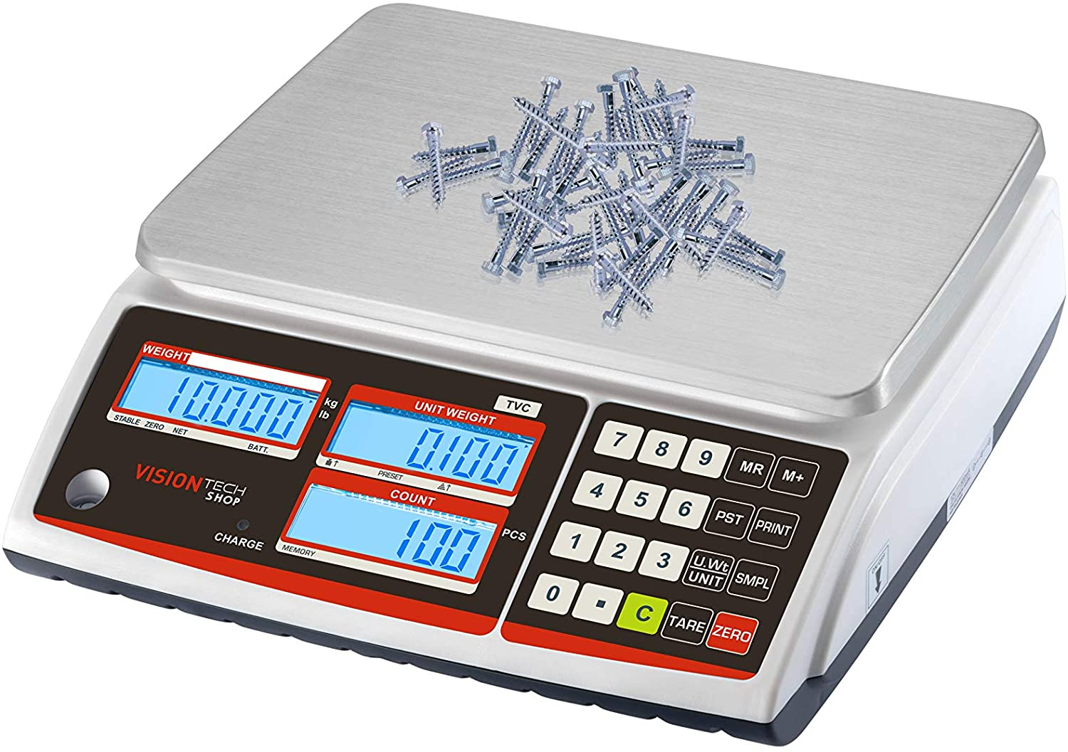 VisionTechShop TVC-30 Counting Scale for Parts and Coins, Lb/Kg Switchable, 30lb Capacity, 0.001lb Readability