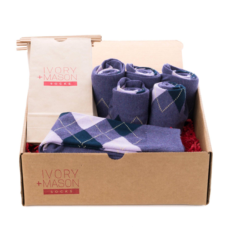 Ivory + Mason Groomsmen Socks - Personalized - Men's Argyle - Purple Color - Premium Cotton - Size 8-13 (6 Pairs)