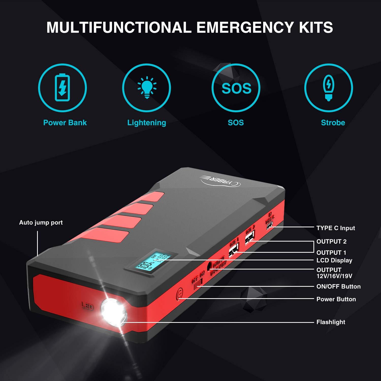 YABER Avviatore di Emergenza per Auto Cavo per Avviamento Intelligente 12V Jump Starter Booster con Display LCD Fino a 7,5L a Benzina o Diesel da 5.5L 1000A 20800mAh Avviatore Batteria Auto