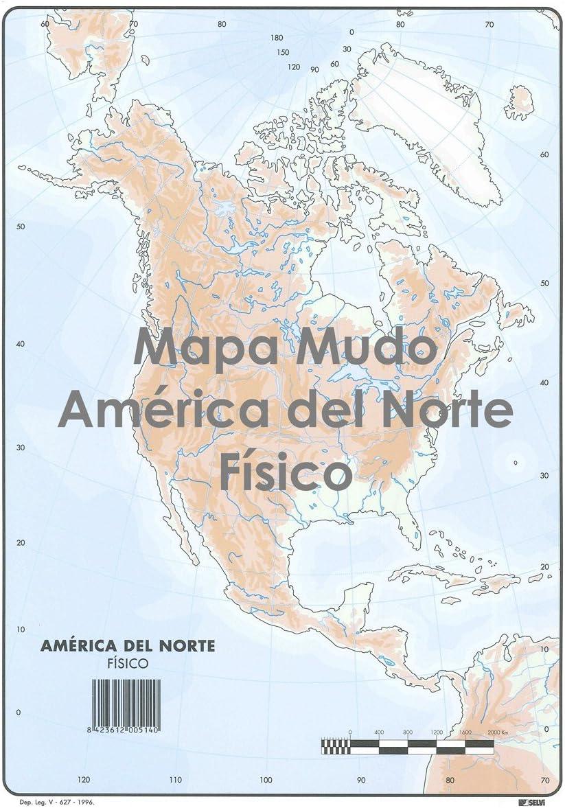 Mapa Mudo SELVI Color Din-A4 América Del Norte Físico, Caja x50: Amazon.es: Oficina y papelería