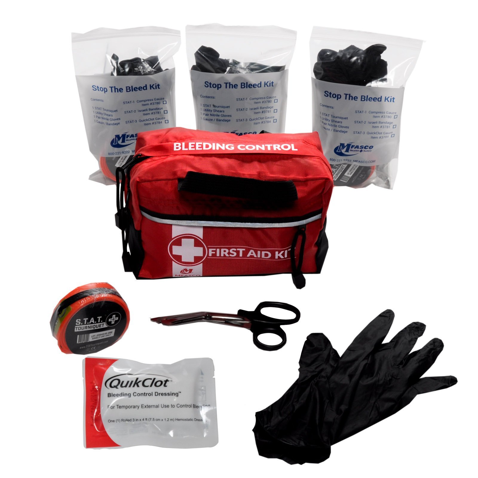 STAT 3 Stop The Bleed Kit With Tourniquet & Quikclot Dressing Red Bag by MFASCO