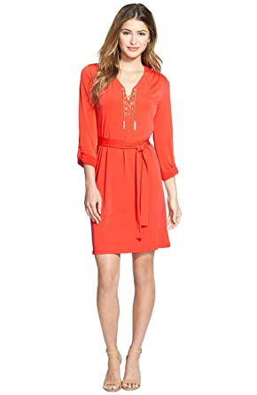 Michael Kors Womens Orange Long Sleeve Mini Casual Dress