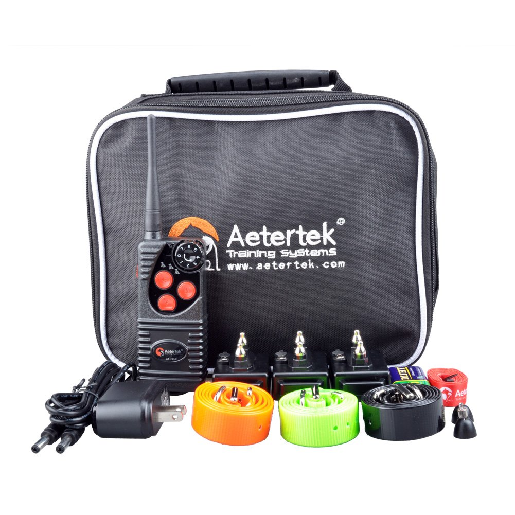 Aetertek 216 Dog Pet E-Collar Shock Collar Control Rechargeable Electronic Safe Remote Dog Training 7 Levels of Shock + Vibration + beep for Three Dogs