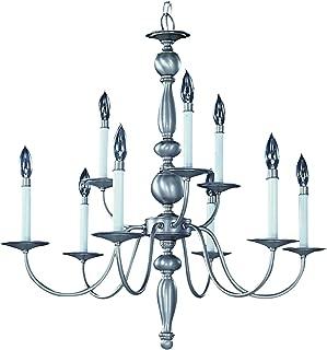 product image for Framburg 7919 SP 9-Light Jamestown Dining Chandelier, Satin Pewter
