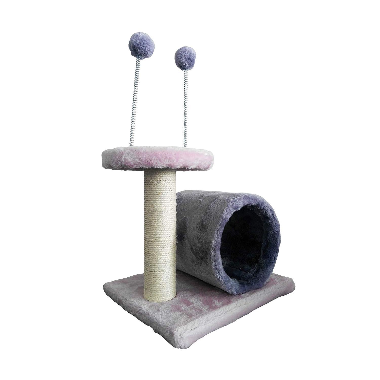 Mobili Rebecca LuckyPet Escalador Poste Gimnasio Gato Cuerda Sisal Peluche Rosa Gris Túnel Juego(Cod. LU8049): Amazon.es: Productos para mascotas