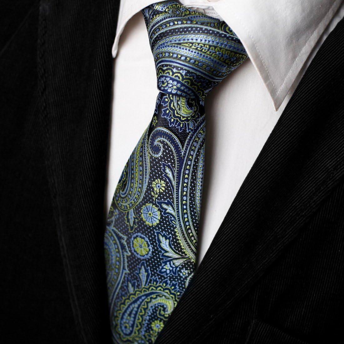 Epoint EAAB0133 Black Red Blue Paisley Silk Mens Tie Casual Groomsmen Neck Tie
