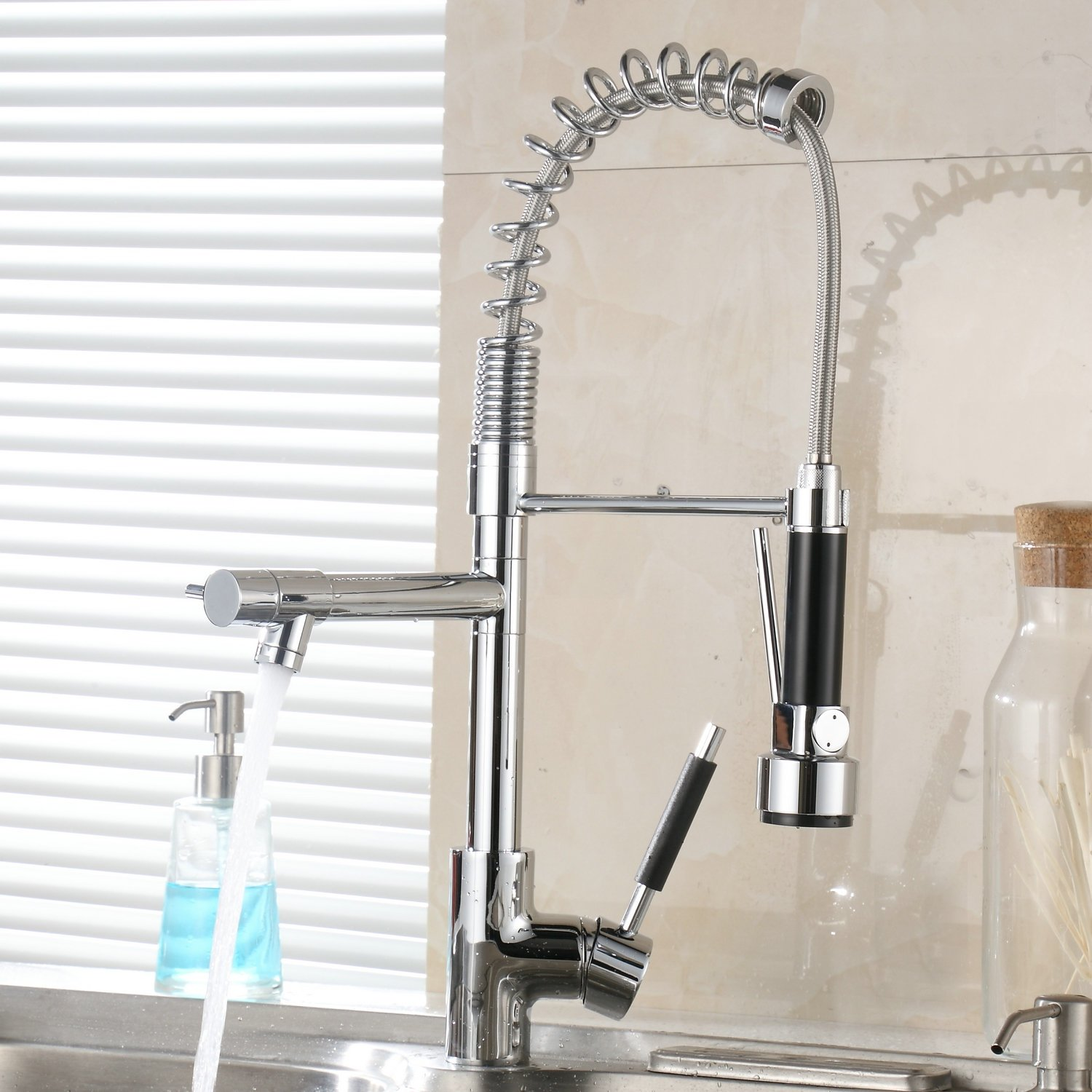Beelee BL0783NP 20 Contemporary Spring Single Handle Kitchen Sink Faucet with Pull Down Sprayer, Brushed Nickel Bela
