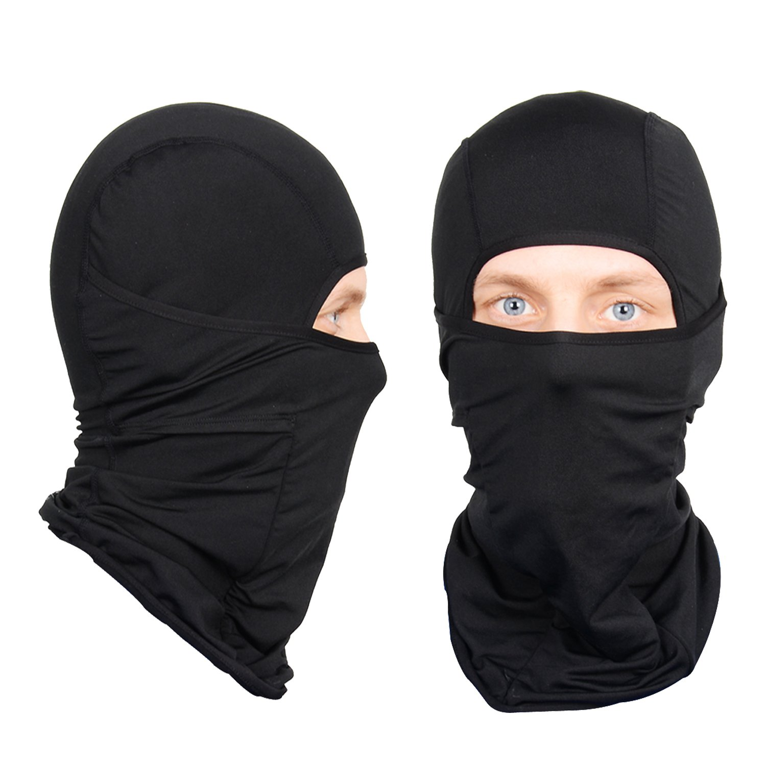 Nordic Balaclava 2-Pack Face Mask Motorcycle Helmets Liner Ski Gear Neck Gaiter Ski Mask Accessories by The Friendly Swede (Black Nordic)