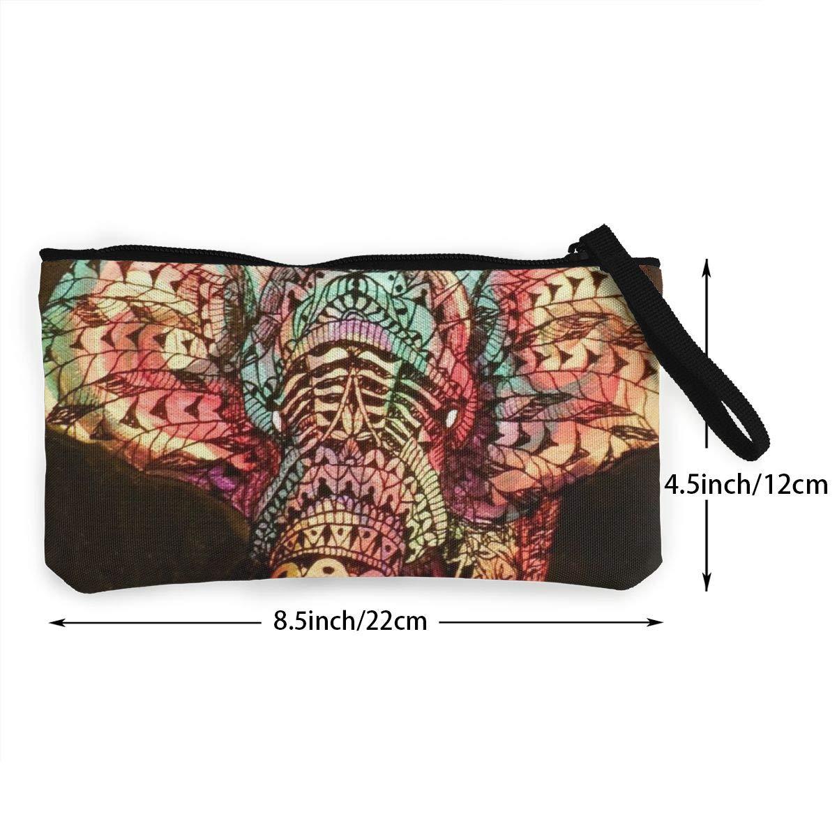 Canvas Cash Coin Purse,Tribal Animal Decorations Print Make Up Bag Zipper Small Purse Wallets