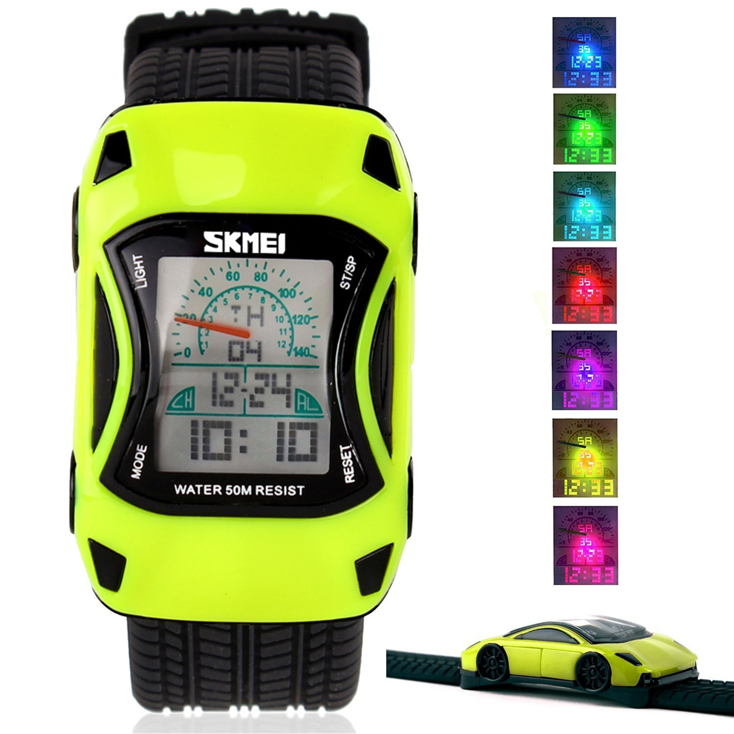 Kids Watches LED Waterproof 3D Car Silicone Children Toddler Wrist Watches Time Teacher Gift for Boys Girls Little Child Green