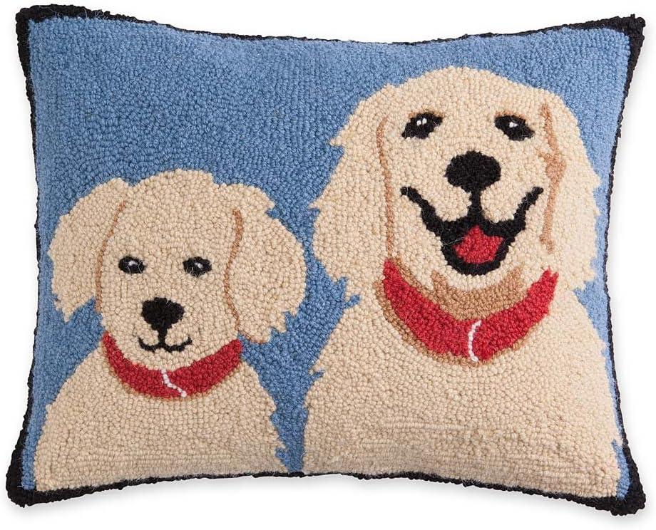 Plow Hearth Hooked Wool Golden Retrievers Decorative Throw Pillow, 18 L x 14 W