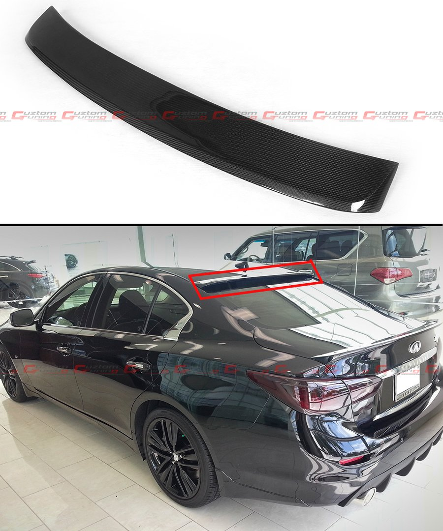 Cuztom Tuning FITS for 2014-2018 Infiniti Q50 JDM Real Carbon Fiber Rear ROOF TOP Spoiler Wing