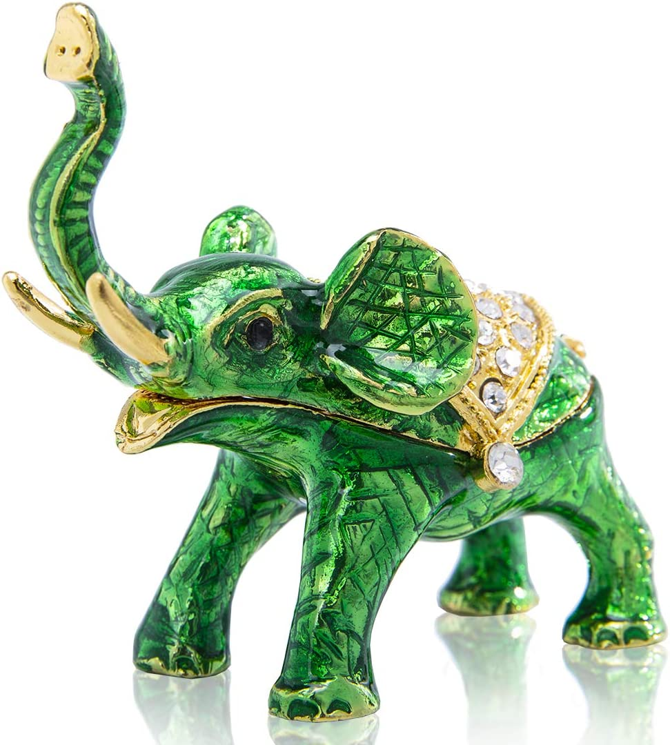 YU FENG Hinged Elephant Jewelry Box Crystals Bejeweled Animal Figurine Jewelry Trinket Holder Box(Green)
