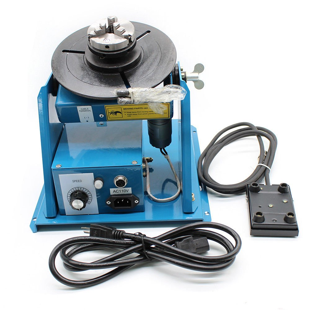 Rotary Welding Positioner Turntable Table Mini 2.5'' 3 Jaw Lathe Chuck 110V 2-10 r/min