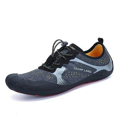 4dacb379690 katliu Mens Water Shoes Wide Barefoot Hiking Trail Running Shoe Womens  Outdoor Swimming Socks Black