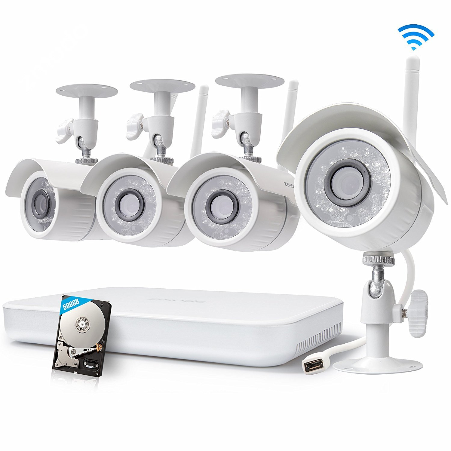 Zmodo 8CH Wireless Security Camera System - 1080P HDMI NVR with 500GB Hard Drive, 4 x 720P HD Wireless Cameras Night Vision - WiFi Easy Installation No Video Cables Needed (Certified Refurbished)