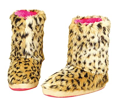 5044742419b8 Blazin Roxx M F Western Women s Furry Boot Slippers Brown Leopard Slipper  SM (Women s ...