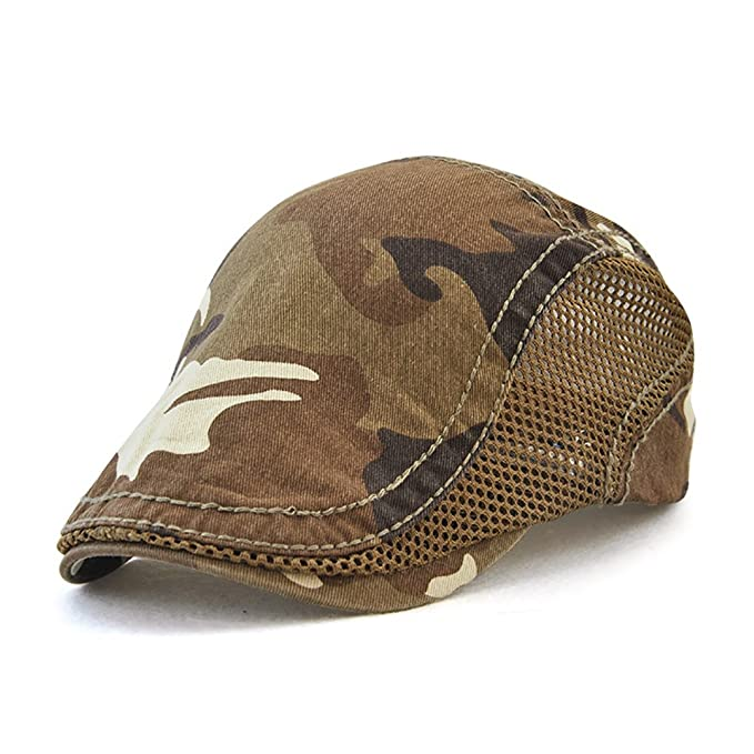 Gudessly Mens Cotton Flat Beret Cap Duckbill Hat Newsboy Ivy Irish Cabbie Scally Cap