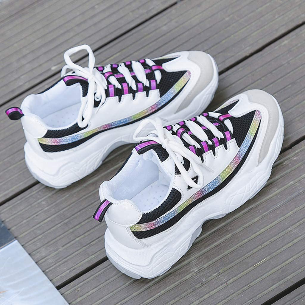 Women Sneakers Cross-Tied Mixed Color Lace-up Sports Shoes Casual Sneakers