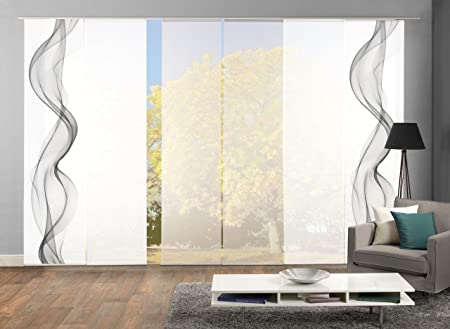 HOME WOHNIDEEN Set-Angebot Flächenvorhänge Edmonton, Set-Größen, inkl. hochwertigem Zubehör (6, grau)