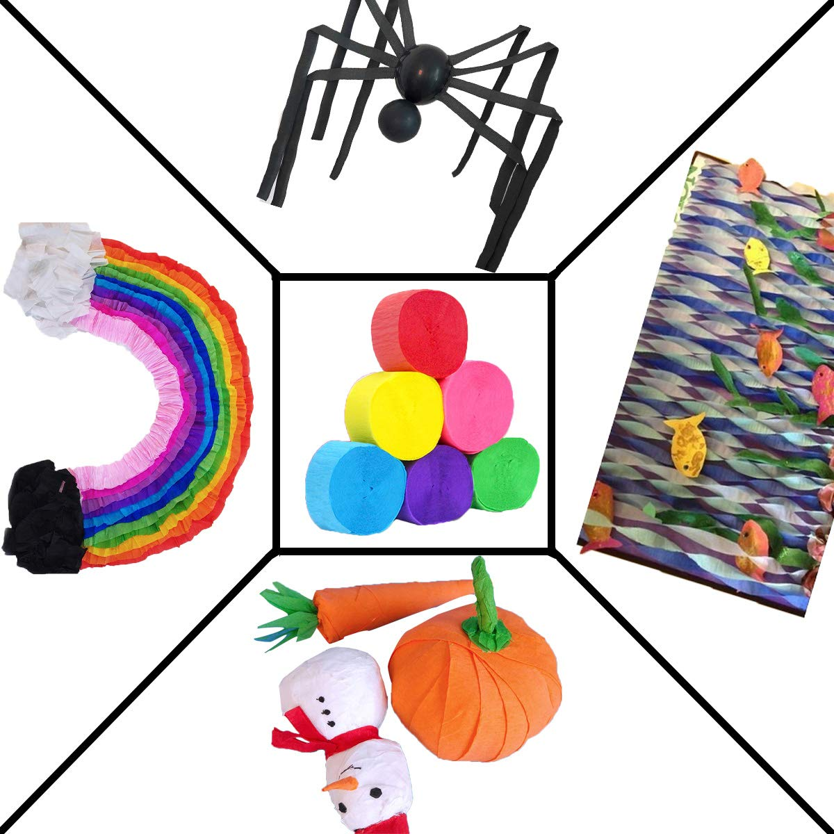 Mexican Festival Party D/écor Concert and Various Festivals Halloween Party 6 Rolls 59Yard Colorful Crepe Paper Streamers 0.05X9.8Yard//Roll Photo Booth Backdrop Decorations for Birthday Wedding