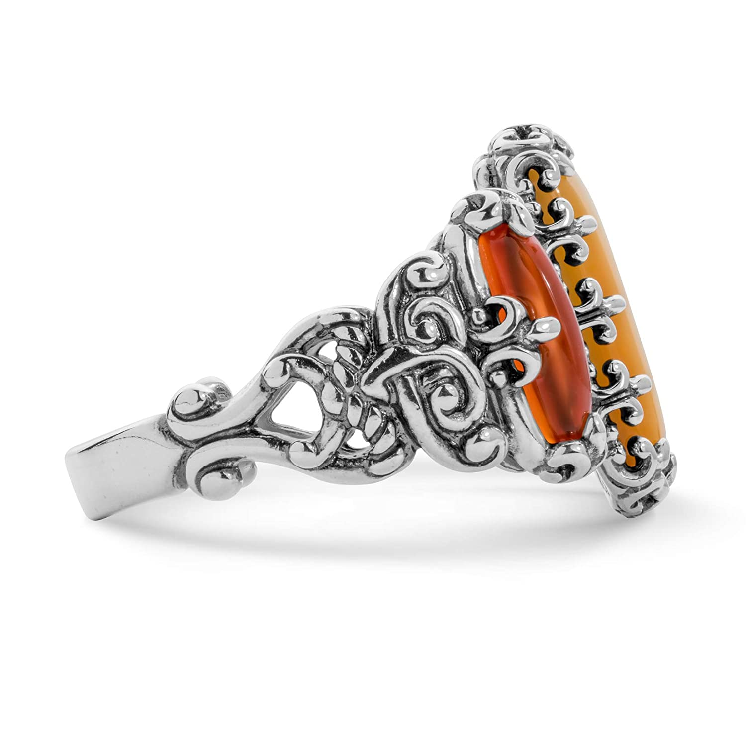 Carolyn Pollack Sterling Silver Gold Mother of Pearl Orange Carnelian Sizes 5 To 10 Three Stone Ring