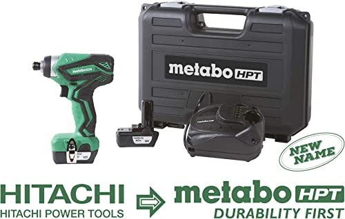 Metabo HPT WH10DFL2 12V Peak Cordless Impact Driver Kit, Includes 2-12V Lithium Ion Batteries, 25-Min Quick Charger, 2 Driver Bit, Carrying Case, 955 In Lbs Driving Torque