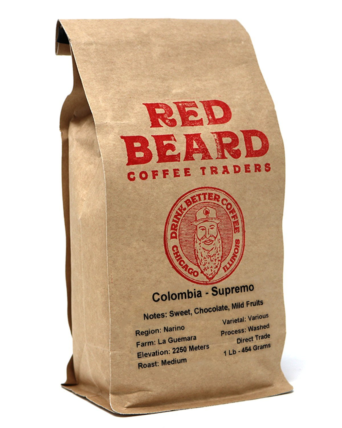 Red Beard Coffee Colombia Supremo Blend Medium Roast 1lb Mixture of Citric Flavors Fruit Flavors Herbal Taste Chocolate Notes and Caramel Sweetness