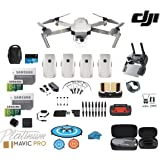DJI Mavic Pro Platinum - Drone - Quadcopter - Fly More Combo - with 4 Batteries - 4K Professional Camera Gimbal - Bundle - Kit - with Must Have Accessories