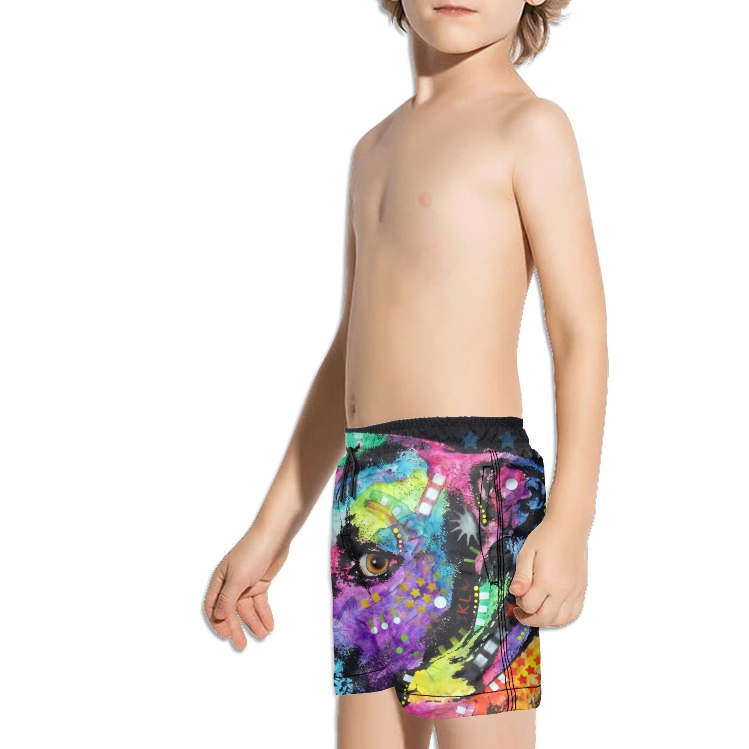 FullBo Colorful Pitbull Dog pop Art Little Boys Short Swim Trunks Quick Dry Beach Shorts
