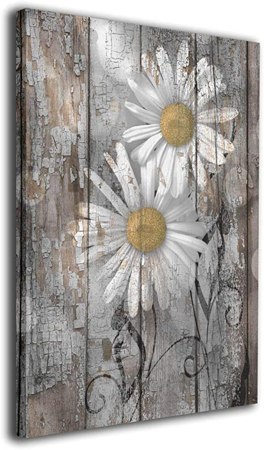 Amazon Com Moulma Contemporary Rustic Farmhouse Daisy Flowers Country Yellow Brown White Photo Paintings Canvas Wall Art Prints 12 X16 Decorative Giclee Artwork Wall Decor Wood Frame Gallery Stretched Posters Prints