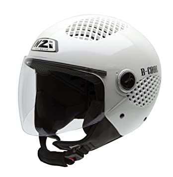NZI 150243G284 B-Cool Pearl White Casco de Moto, Blanco Nácar, Talla 58