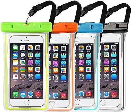 Dyluck 4 x Pochettes Etanches Téléphone [Certifiée IPX8] Housse Etui Coque Téléphone Téléphone Portable Etanche Universel (6'') Waterproof Case pour ...