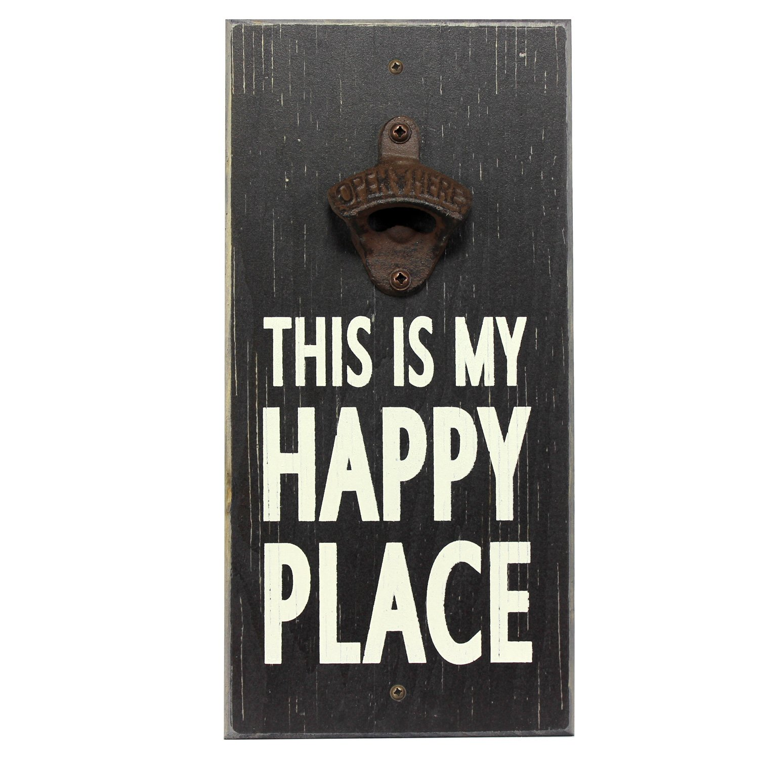 My Word My Happy Place Wooden Wall Mounted Bottle Opener