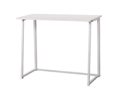 CherryTree Furniture Compact Flip-Flop Folding Computer Desk Home Office Laptop Desktop Table (White)