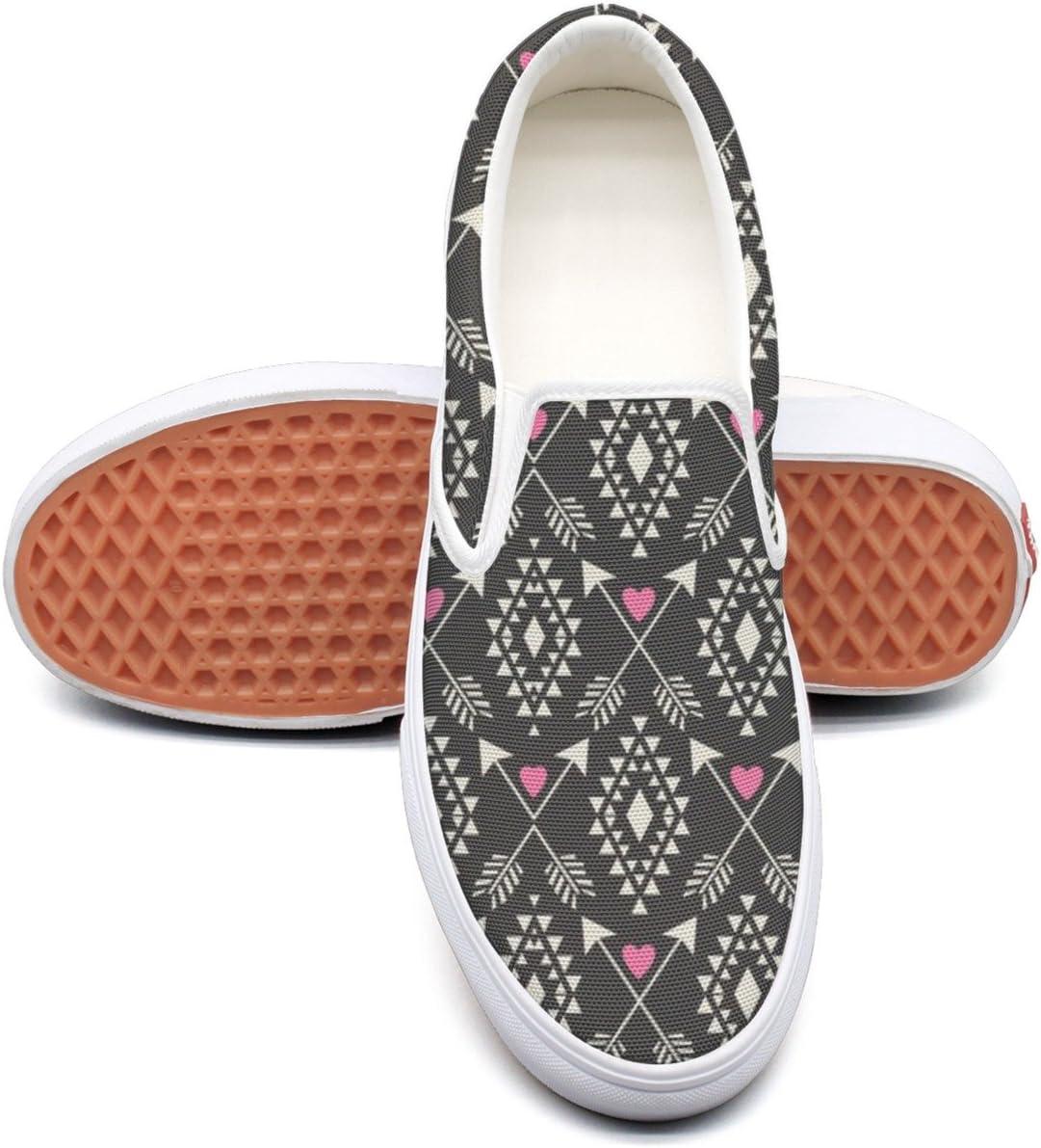 VCERTHDF Tribal Aztec Hearts Arrows Print Canvas Shoe Mens White