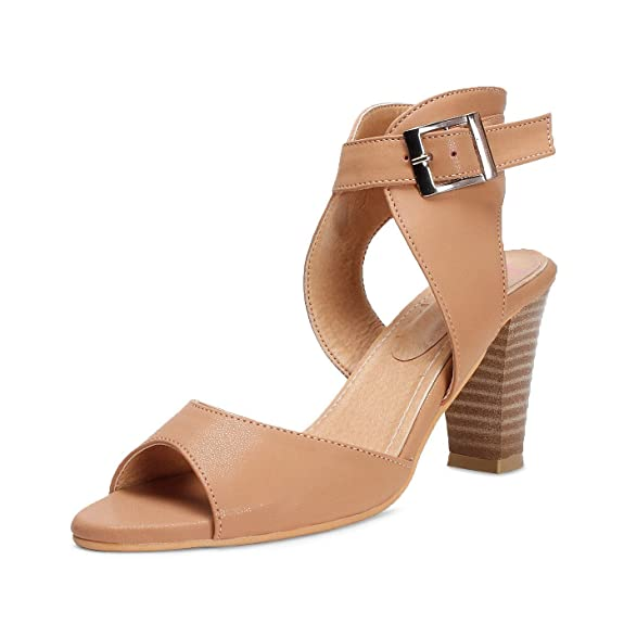 Meriggiare Women Synthetic Beige Heels Fashion Sandals at amazon