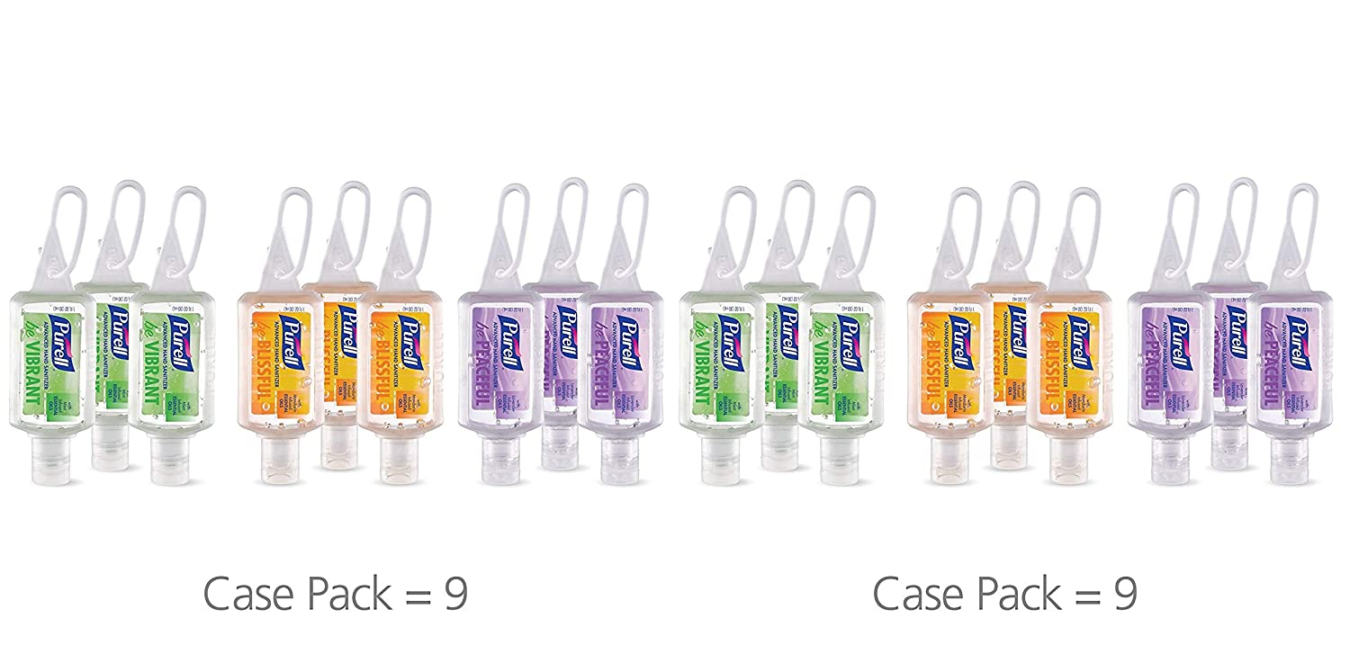 PURELL Advanced Hand Sanitizer Gel Infused with Essential Oils, Scented Variety Pack, 9 - 1 fl oz Travel Sized Flip Cap Bottles with included JELLY WRAP Carriers (Pack of 9) – 3900-09-ECME17 GOJO Industries