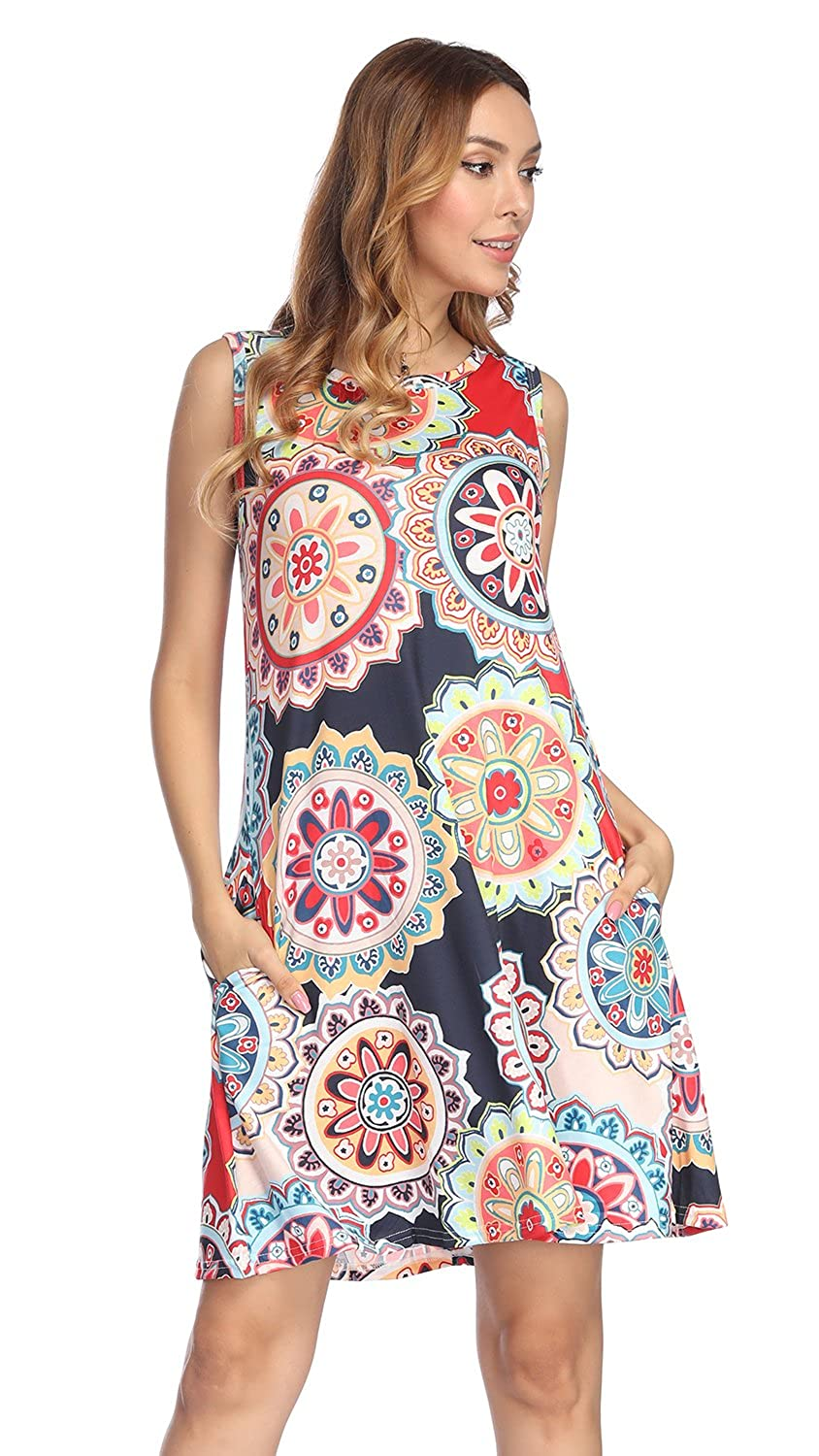 1239_red Demetory Women's Floral Print Sleeveless Scoop Neck Tunic Dress with Pocket