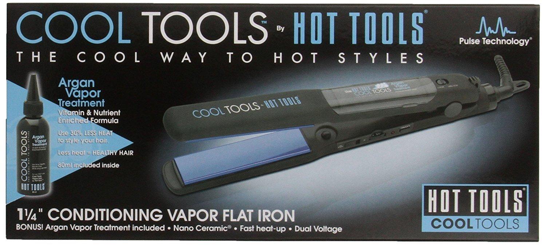 HOT TOOLS Cool Tools 1-1/4 Inch Conditioning Argan Vapor Flat Iron and Treatment 7101