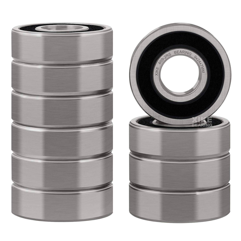 Ball Bearings Black Rubber Sealed Bearing 10 PCS 609-2RS 9x24x7