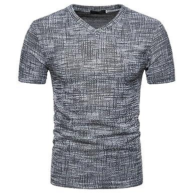 b38bdcead83d9 Mens Summer Pure Brushed Short Sleeve Top Soid Hole V Neck Pullover T-